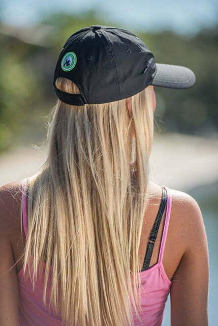 bamboo bliss baseball cap black modeled back