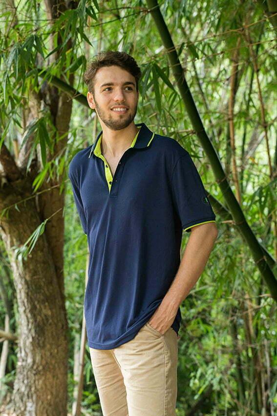 bamboo bliss mens polo model photo hugo